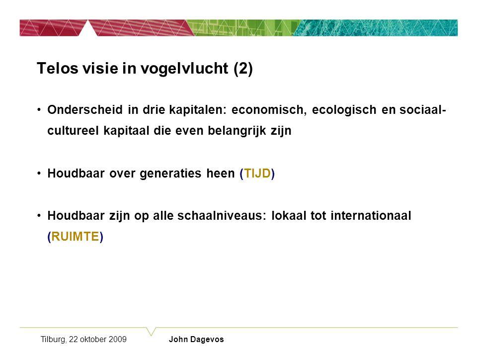 Tilburg, 22 oktober 2009 John Dagevos Telos visie in vogelvlucht (2) Onderscheid in drie kapitalen: economisch, ecologisch en sociaal- cultureel kapitaal die even belangrijk zijn Houdbaar over generaties heen (TIJD) Houdbaar zijn op alle schaalniveaus: lokaal tot internationaal (RUIMTE)