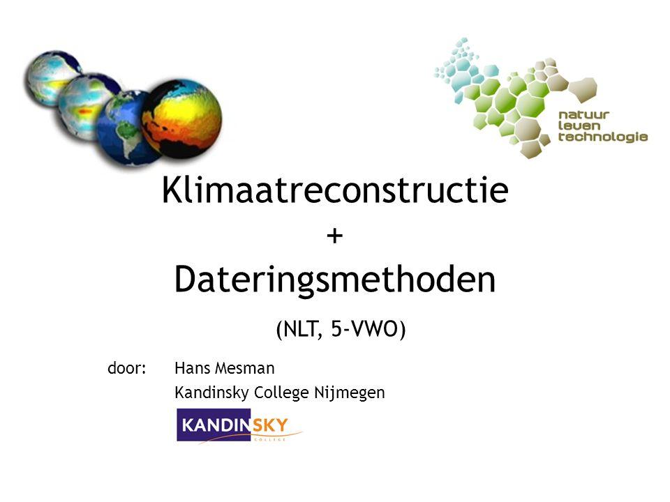 Klimaatreconstructie + Dateringsmethoden (NLT, 5-VWO) door:Hans Mesman Kandinsky College Nijmegen