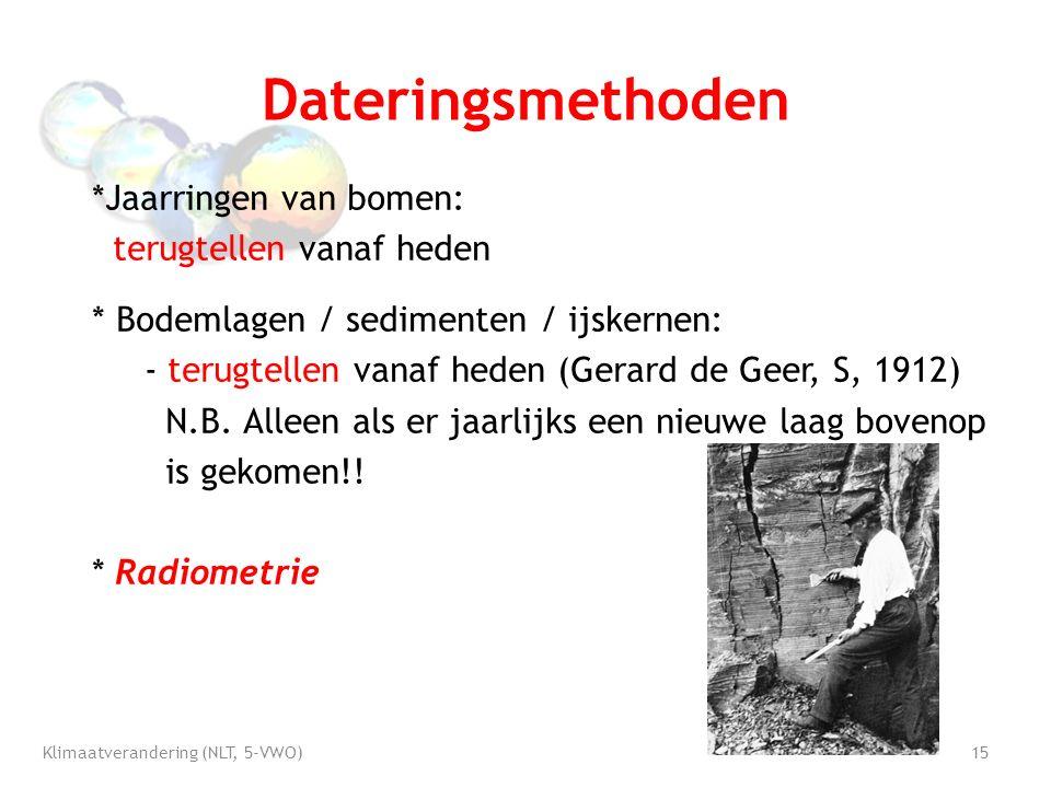Dateringsmethoden *Jaarringen van bomen: terugtellen vanaf heden * Bodemlagen / sedimenten / ijskernen: - terugtellen vanaf heden (Gerard de Geer, S, 1912) N.B.
