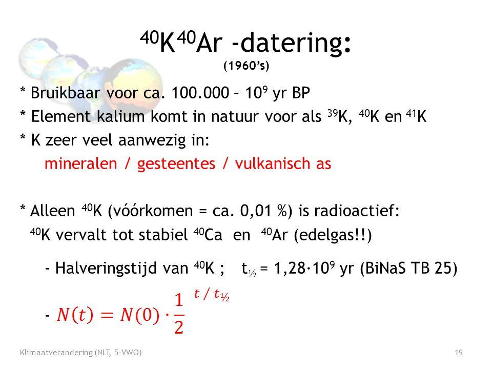 40 K 40 Ar -datering: (1960's) * Bruikbaar voor ca.