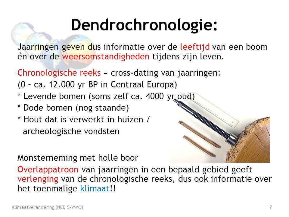 Dendrochronologie: Jaarringen geven dus informatie over de leeftijd van een boom én over de weersomstandigheden tijdens zijn leven.