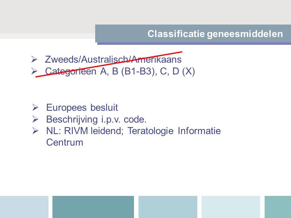  Zweeds/Australisch/Amerikaans  Categorieën A, B (B1-B3), C, D (X)  Europees besluit  Beschrijving i.p.v. code.  NL: RIVM leidend; Teratologie In