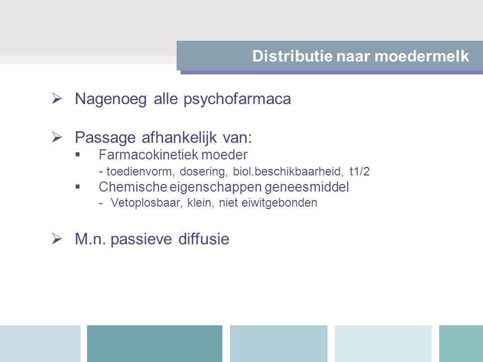  Nagenoeg alle psychofarmaca  Passage afhankelijk van:  Farmacokinetiek moeder - toedienvorm, dosering, biol.beschikbaarheid, t1/2  Chemische eige