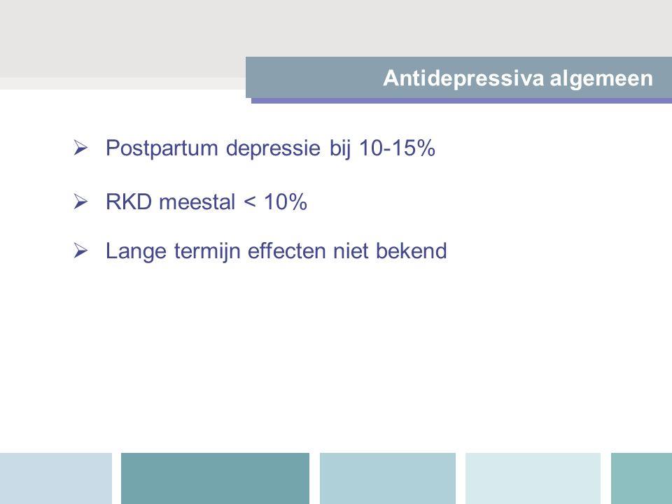  Postpartum depressie bij 10-15%  RKD meestal < 10%  Lange termijn effecten niet bekend Antidepressiva algemeen