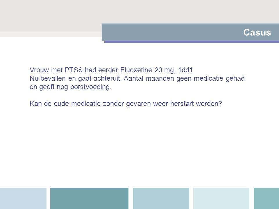 Vrouw met PTSS had eerder Fluoxetine 20 mg, 1dd1 Nu bevallen en gaat achteruit. Aantal maanden geen medicatie gehad en geeft nog borstvoeding. Kan de