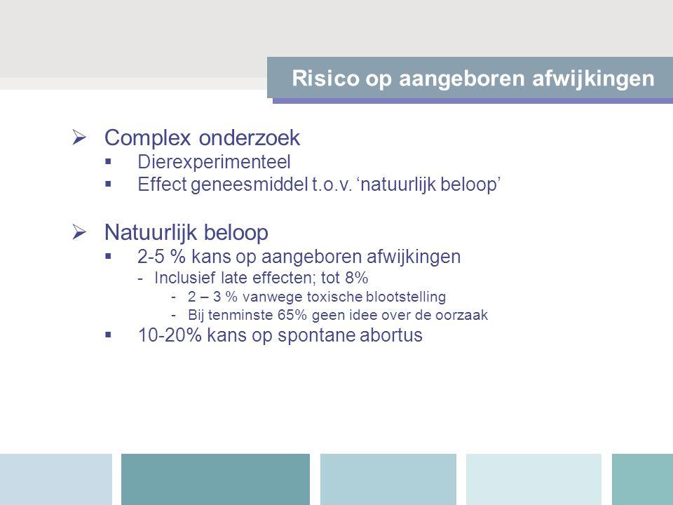  Erfelijke aanleg  Tijdstip van blootstelling Relevante factoren voor kans op aangeboren afwijkingen