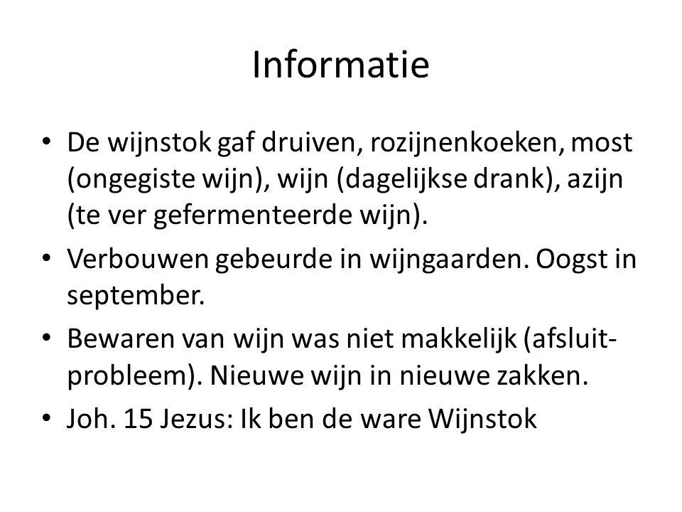 Informatie De wijnstok gaf druiven, rozijnenkoeken, most (ongegiste wijn), wijn (dagelijkse drank), azijn (te ver gefermenteerde wijn).