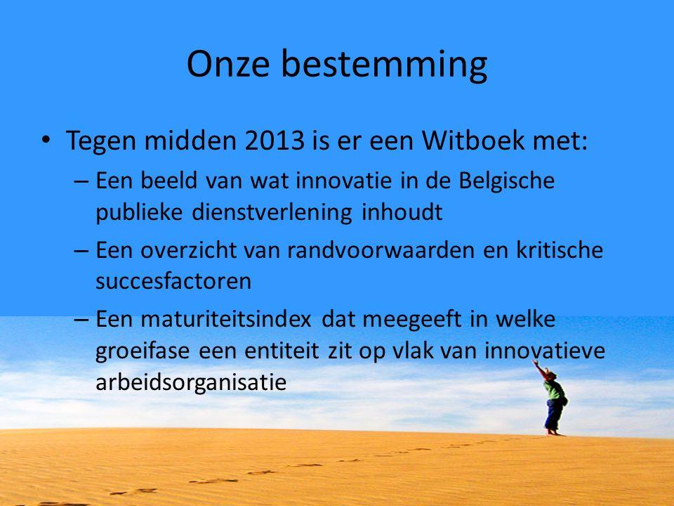 Onze bestemming Tegen midden 2013 is er een Witboek met: – Een beeld van wat innovatie in de Belgische publieke dienstverlening inhoudt – Een overzich