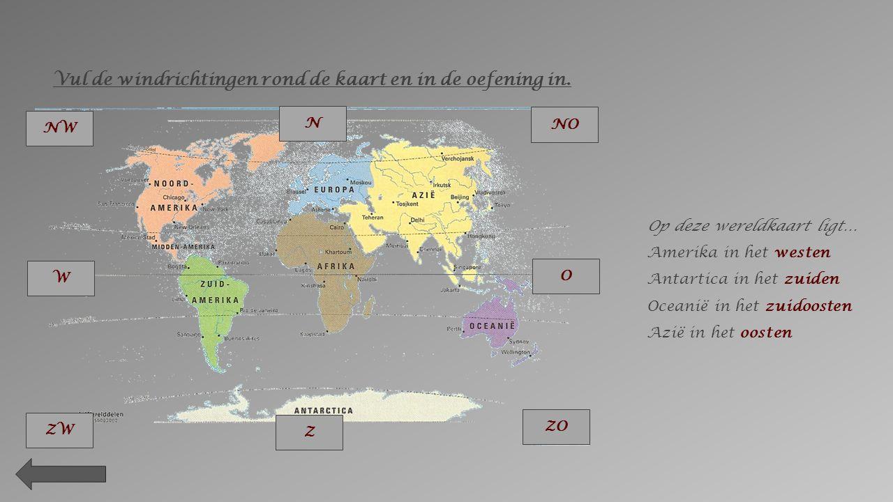 Op een kaart of plattegrond ga je opzoek naar de windroos. De pijl met de letter N duidt de richting van het noorden aan. De kaart of plattegrond zo l