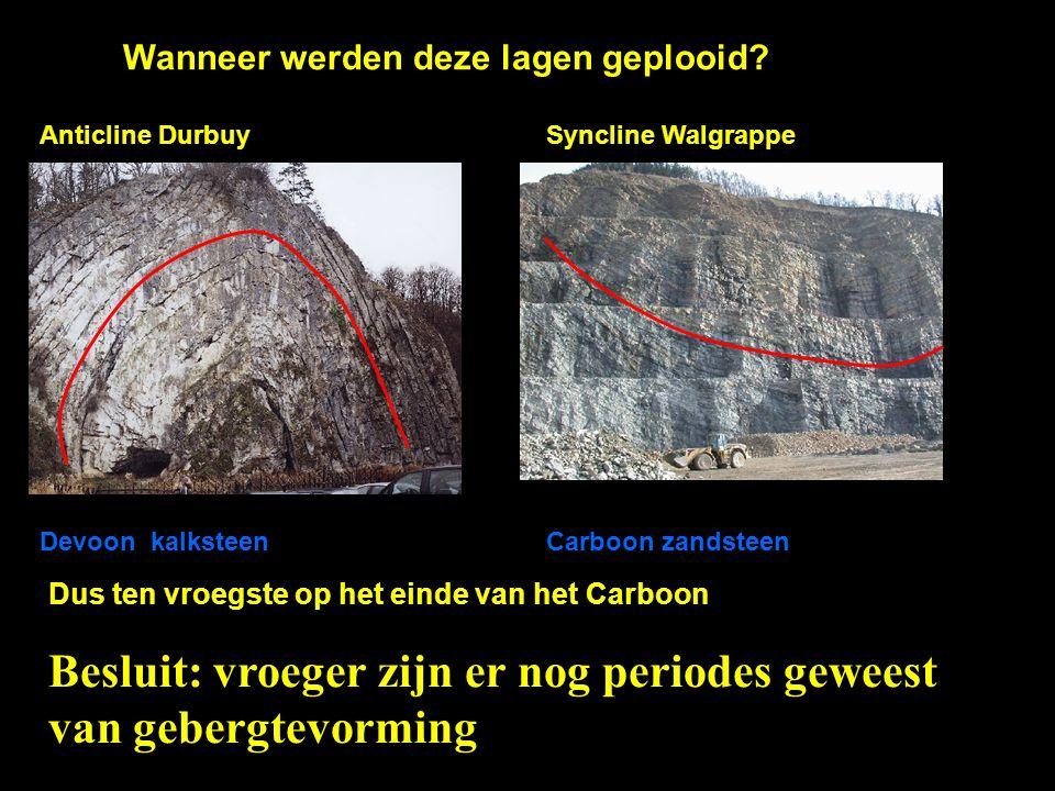 Wanneer werden deze lagen geplooid? Devoon kalksteenCarboon zandsteen Dus ten vroegste op het einde van het Carboon Anticline DurbuySyncline Walgrappe