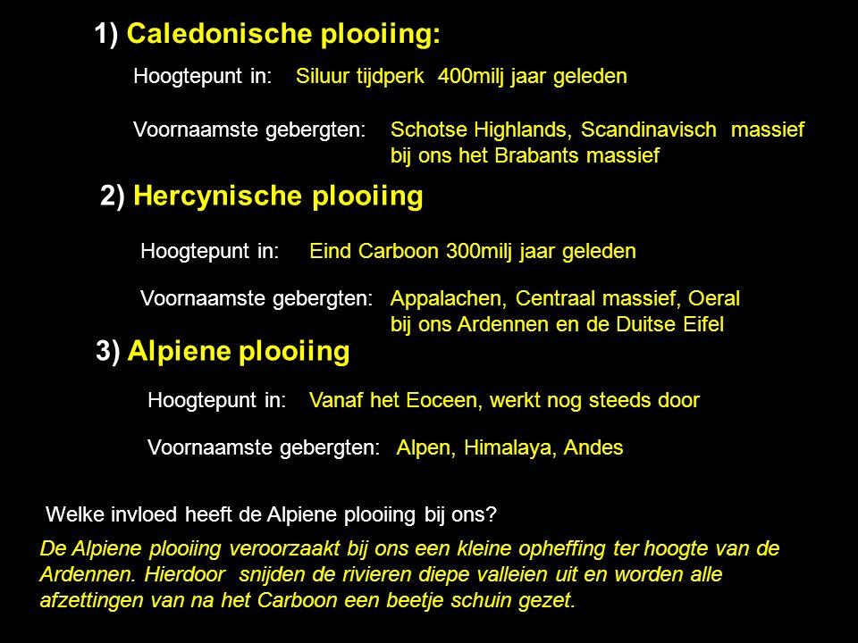 1) Caledonische plooiing: Hoogtepunt in: Siluur tijdperk 400milj jaar geleden Voornaamste gebergten: Schotse Highlands, Scandinavisch massief bij ons