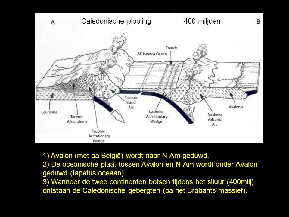 1) Avalon (met oa België) wordt naar N-Am geduwd. 2) De oceanische plaat tussen Avalon en N-Am wordt onder Avalon geduwd (Iapetus oceaan). 3) Wanneer