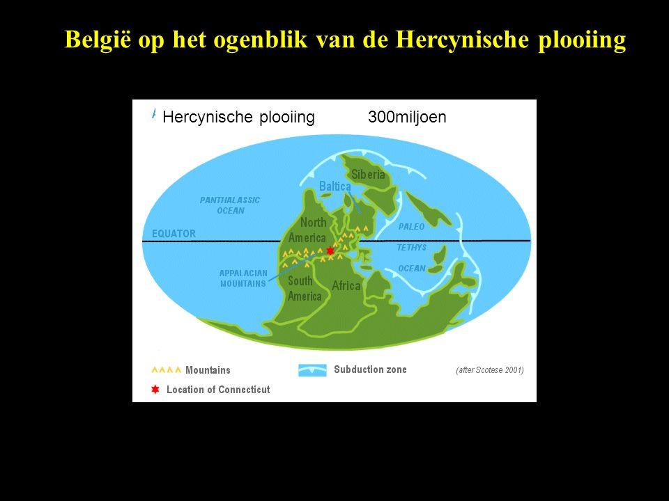 België op het ogenblik van de Hercynische plooiing Hercynische plooiing 300miljoen