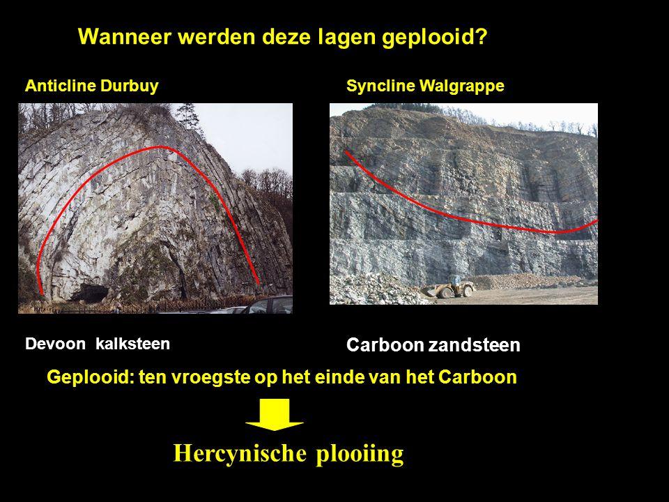 Wanneer werden deze lagen geplooid? Devoon kalksteen Carboon zandsteen Geplooid: ten vroegste op het einde van het Carboon Anticline DurbuySyncline Wa