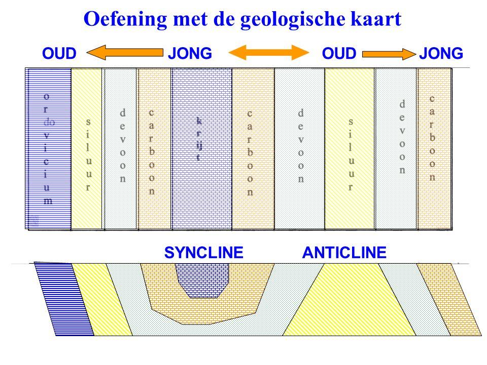Oefening met de geologische kaart OUDJONG OUD ANTICLINESYNCLINE