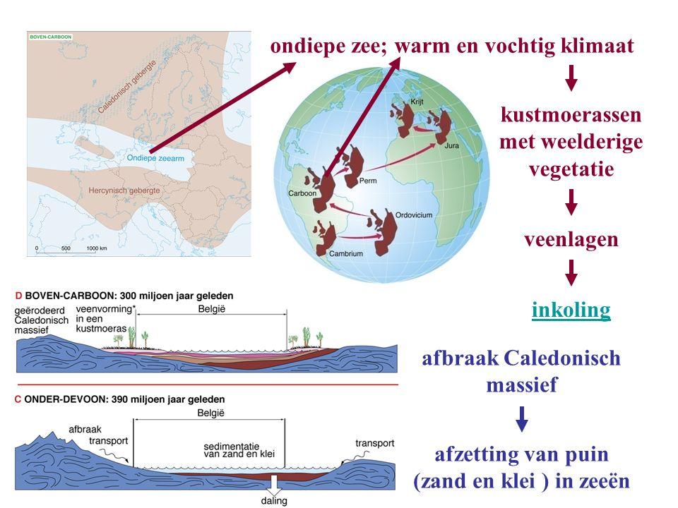 afbraak Caledonisch massief afzetting van puin (zand en klei ) in zeeën ondiepe zee; warm en vochtig klimaat kustmoerassen met weelderige vegetatie ve