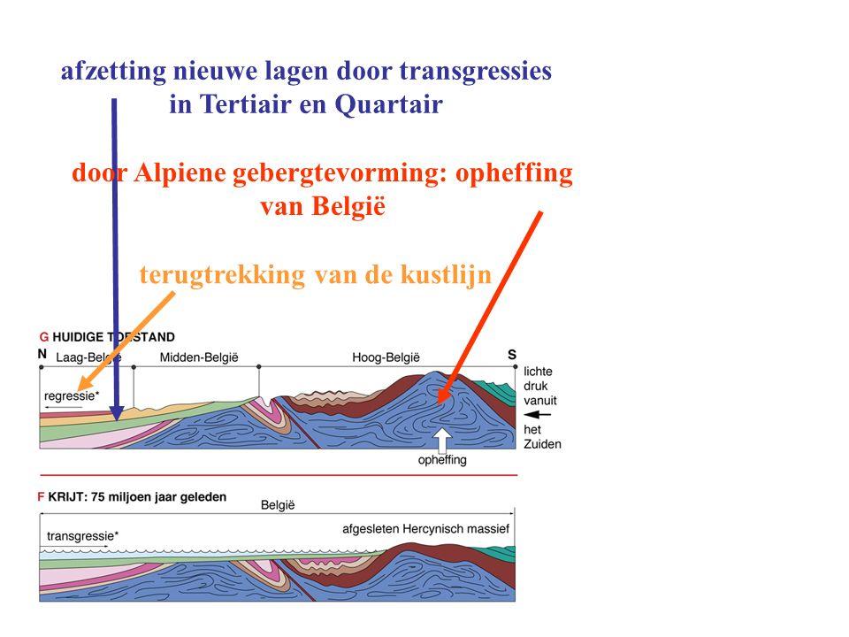 afzetting nieuwe lagen door transgressies in Tertiair en Quartair door Alpiene gebergtevorming: opheffing van België terugtrekking van de kustlijn