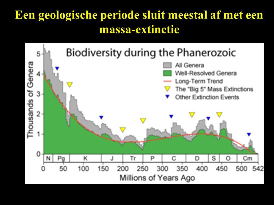 Een geologische periode sluit meestal af met een massa-extinctie