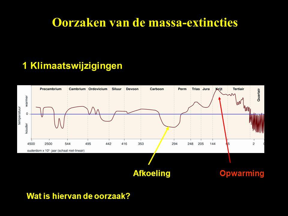1 Klimaatswijzigingen AfkoelingOpwarming Wat is hiervan de oorzaak? Oorzaken van de massa-extincties