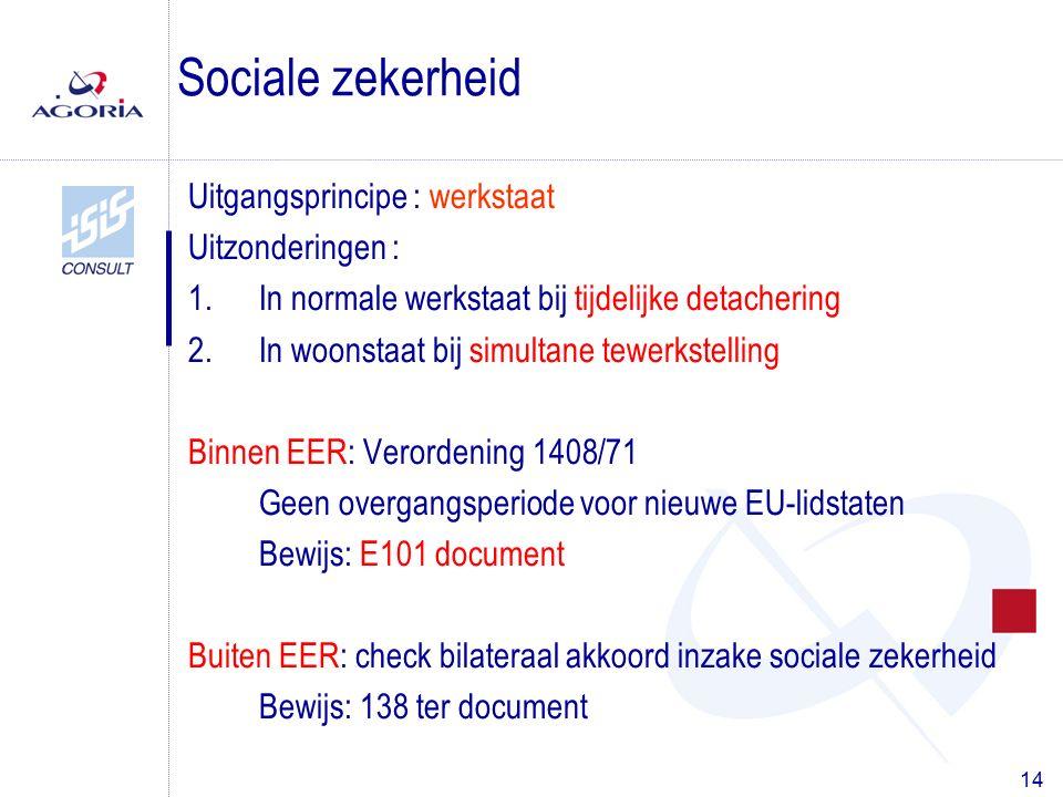 14 Uitgangsprincipe : werkstaat Uitzonderingen : 1.In normale werkstaat bij tijdelijke detachering 2.In woonstaat bij simultane tewerkstelling Binnen EER: Verordening 1408/71 Geen overgangsperiode voor nieuwe EU-lidstaten Bewijs: E101 document Buiten EER: check bilateraal akkoord inzake sociale zekerheid Bewijs: 138 ter document Sociale zekerheid