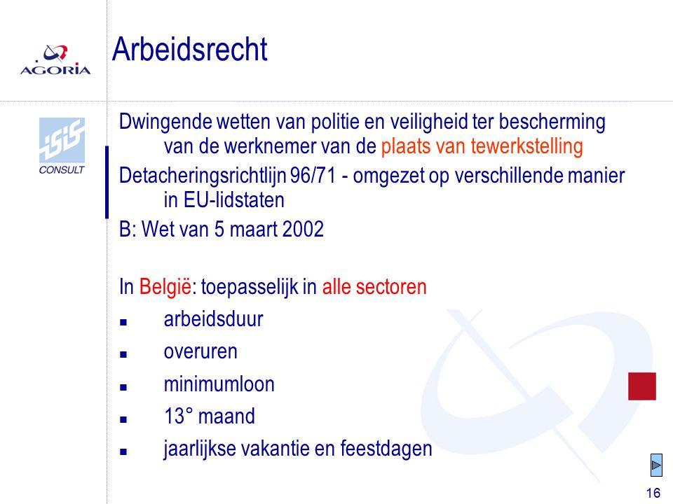 16 Dwingende wetten van politie en veiligheid ter bescherming van de werknemer van de plaats van tewerkstelling Detacheringsrichtlijn 96/71 - omgezet