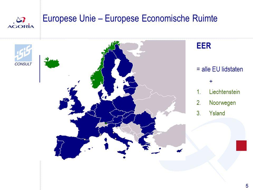 5 Europese Unie – Europese Economische Ruimte EER = alle EU lidstaten + 1.Liechtenstein 2.Noorwegen 3.Ysland