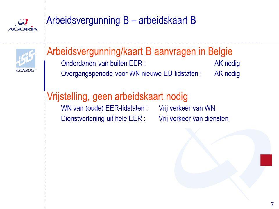 7 Arbeidsvergunning/kaart B aanvragen in Belgie Onderdanen van buiten EER :AK nodig Overgangsperiode voor WN nieuwe EU-lidstaten : AK nodig Vrijstelling, geen arbeidskaart nodig WN van (oude) EER-lidstaten :Vrij verkeer van WN Dienstverlening uit hele EER :Vrij verkeer van diensten Arbeidsvergunning B – arbeidskaart B