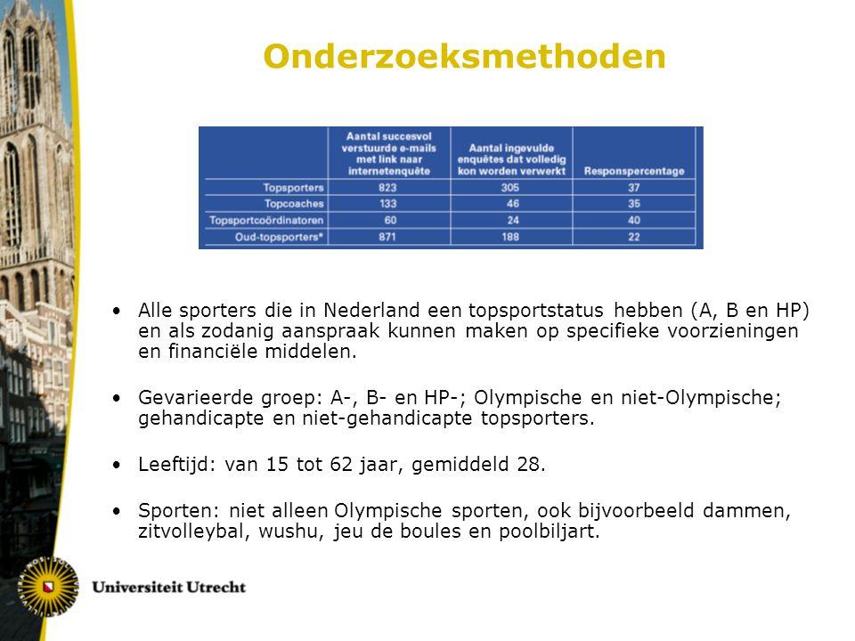 Onderzoeksmethoden Alle sporters die in Nederland een topsportstatus hebben (A, B en HP) en als zodanig aanspraak kunnen maken op specifieke voorzieningen en financiële middelen.
