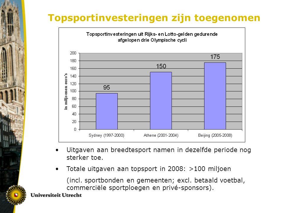 Topsportinvesteringen zijn toegenomen Uitgaven aan breedtesport namen in dezelfde periode nog sterker toe.