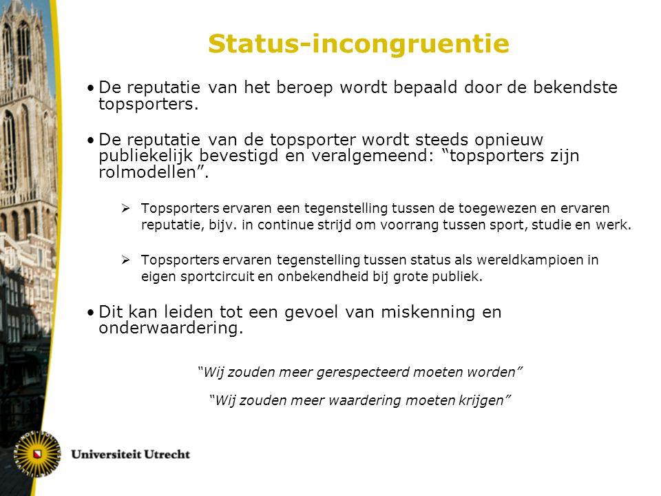 Status-incongruentie De reputatie van het beroep wordt bepaald door de bekendste topsporters.