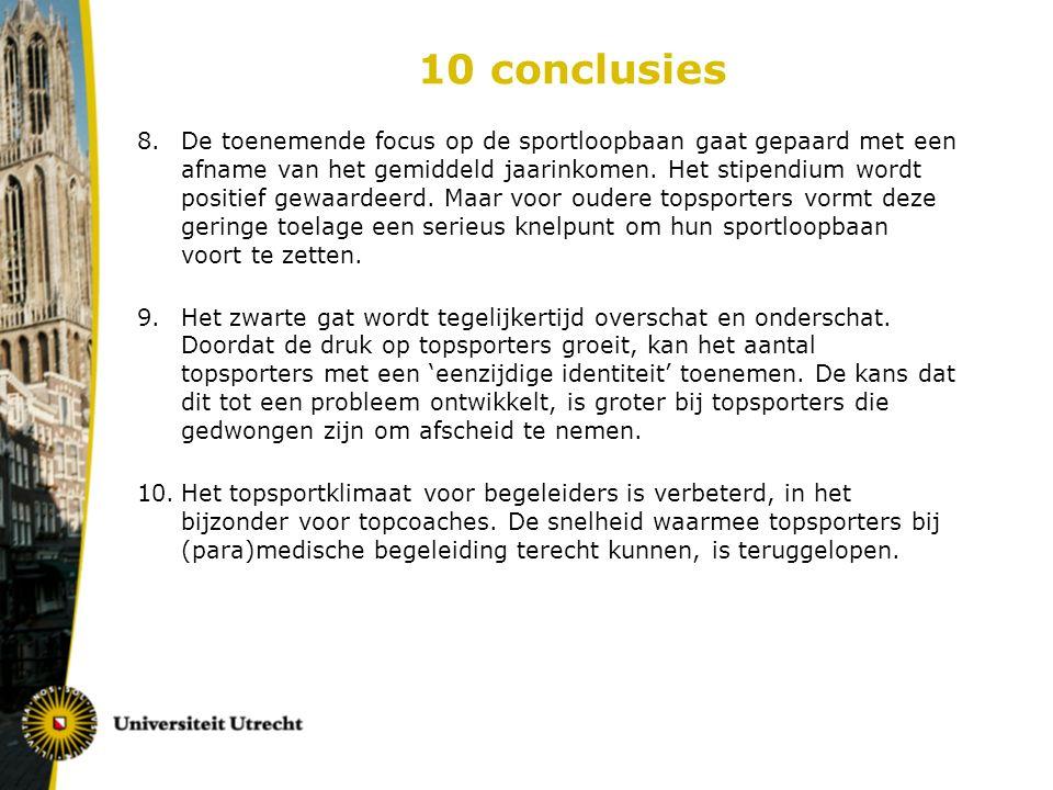 10 conclusies 8.De toenemende focus op de sportloopbaan gaat gepaard met een afname van het gemiddeld jaarinkomen.