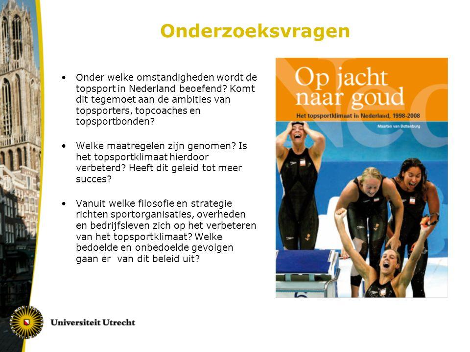 Sportcultuur Hier beperkt tot: de mate waarin de Nederlandse bevolking deelneemt aan sport Sportbeoefening kinderen/jongeren op all time high: 6-11 jaar: 95%, 12-19 jaar: 92% Bewegingsonderwijs lijkt de zwakste schakel: 95 minuten bewegingsonderwijs per week in B.O 60% van scholen zonder vakleerkrachten beperkte samenwerking school en sportvereniging