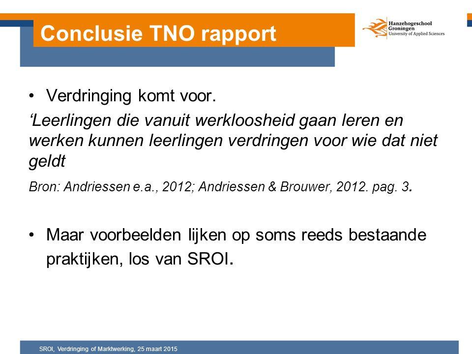 Conclusie TNO rapport Verdringing komt voor.