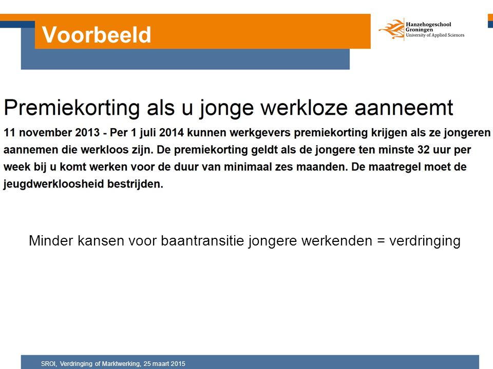Voorbeeld Minder kansen voor baantransitie jongere werkenden = verdringing SROI, Verdringing of Marktwerking, 25 maart 2015