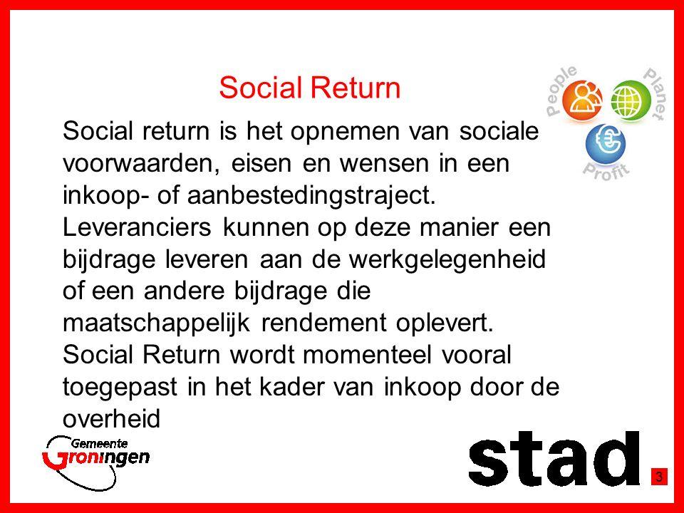 Social Return Social return is het opnemen van sociale voorwaarden, eisen en wensen in een inkoop- of aanbestedingstraject.