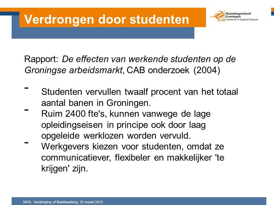 Rapport: De effecten van werkende studenten op de Groningse arbeidsmarkt, CAB onderzoek (2004) - Studenten vervullen twaalf procent van het totaal aantal banen in Groningen.