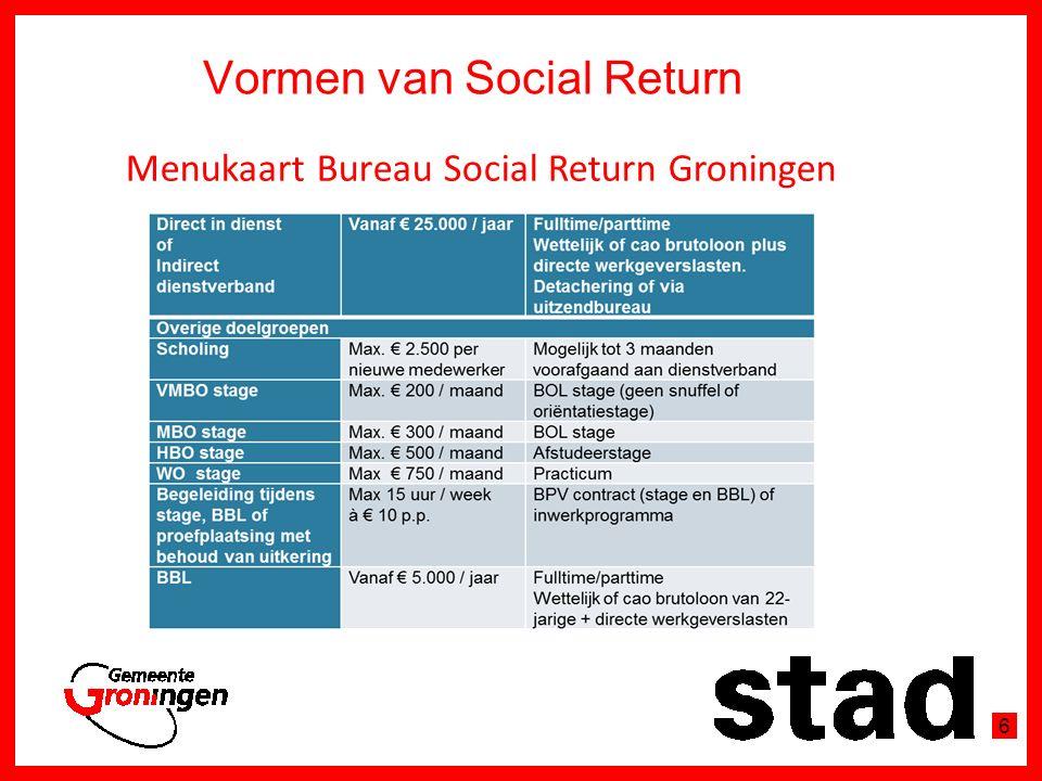 Bureau Social Return ontzorgt In de Aanbestedingsfase -Aanbestedende partijen: Analyse aanbesteding en markt -2 % of 5 % van de opdrachtwaarde -Gegunde partijen: Social Return vanuit de meest passende aansluiting 7