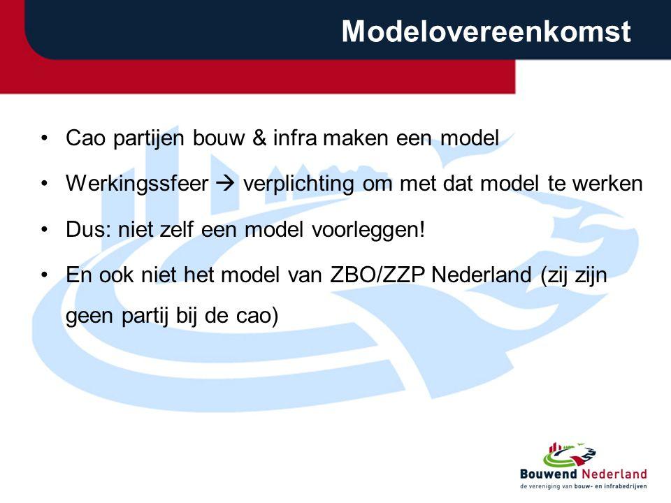 Modelovereenkomst Cao partijen bouw & infra maken een model Werkingssfeer  verplichting om met dat model te werken Dus: niet zelf een model voorlegge