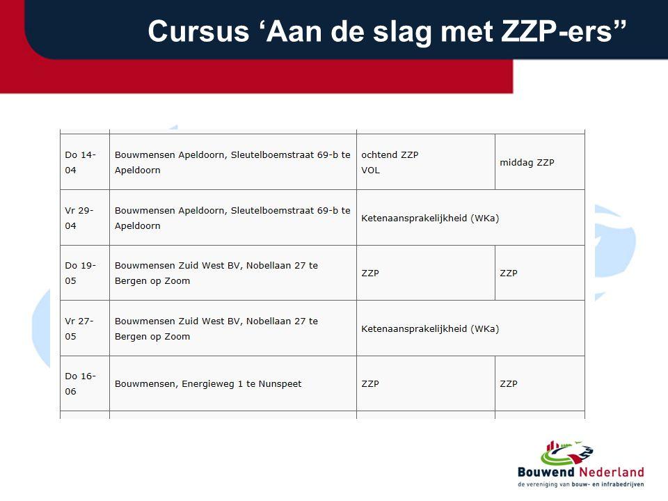 """Cursus 'Aan de slag met ZZP-ers"""""""