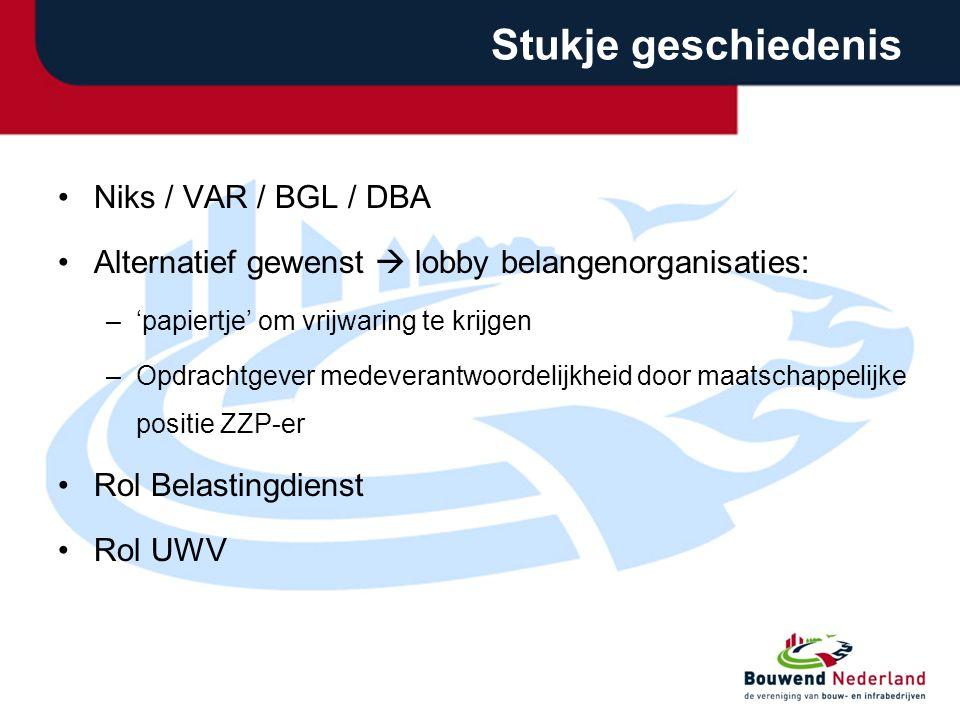 Stukje geschiedenis Niks / VAR / BGL / DBA Alternatief gewenst  lobby belangenorganisaties: –'papiertje' om vrijwaring te krijgen –Opdrachtgever mede