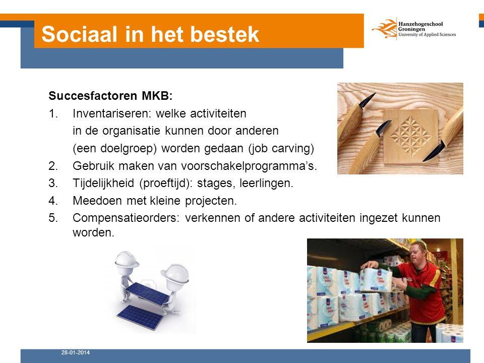 Sociaal in het bestek Succesfactoren MKB: 1.Inventariseren: welke activiteiten in de organisatie kunnen door anderen (een doelgroep) worden gedaan (job carving) 2.Gebruik maken van voorschakelprogramma's.