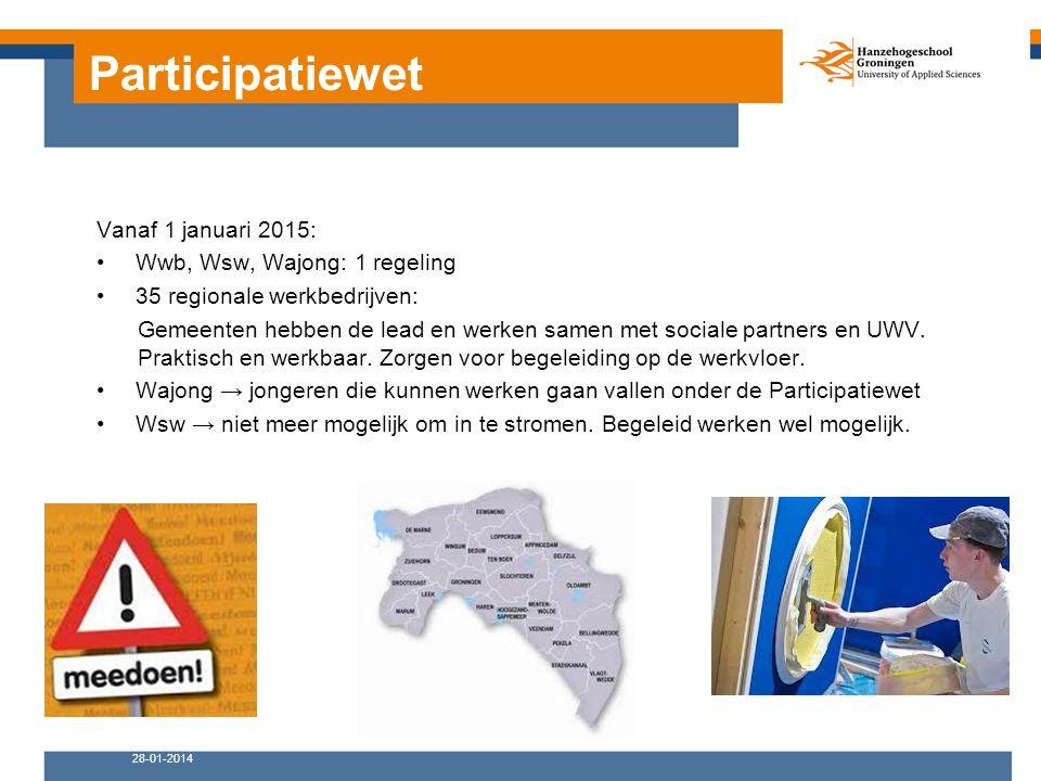 Participatiewet 28-01-2014 Vanaf 1 januari 2015: Wwb, Wsw, Wajong: 1 regeling 35 regionale werkbedrijven: Gemeenten hebben de lead en werken samen met sociale partners en UWV.
