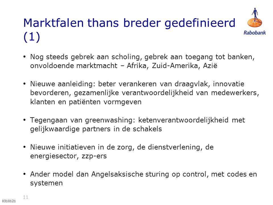 11 0310121 Marktfalen thans breder gedefinieerd (1) Nog steeds gebrek aan scholing, gebrek aan toegang tot banken, onvoldoende marktmacht – Afrika, Zuid-Amerika, Azië Nieuwe aanleiding: beter verankeren van draagvlak, innovatie bevorderen, gezamenlijke verantwoordelijkheid van medewerkers, klanten en patiënten vormgeven Tegengaan van greenwashing: ketenverantwoordelijkheid met gelijkwaardige partners in de schakels Nieuwe initiatieven in de zorg, de dienstverlening, de energiesector, zzp-ers Ander model dan Angelsaksische sturing op control, met codes en systemen