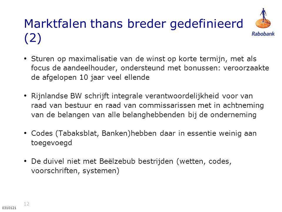 12 0310121 Marktfalen thans breder gedefinieerd (2) Sturen op maximalisatie van de winst op korte termijn, met als focus de aandeelhouder, ondersteund met bonussen: veroorzaakte de afgelopen 10 jaar veel ellende Rijnlandse BW schrijft integrale verantwoordelijkheid voor van raad van bestuur en raad van commissarissen met in achtneming van de belangen van alle belanghebbenden bij de onderneming Codes (Tabaksblat, Banken)hebben daar in essentie weinig aan toegevoegd De duivel niet met Beëlzebub bestrijden (wetten, codes, voorschriften, systemen)