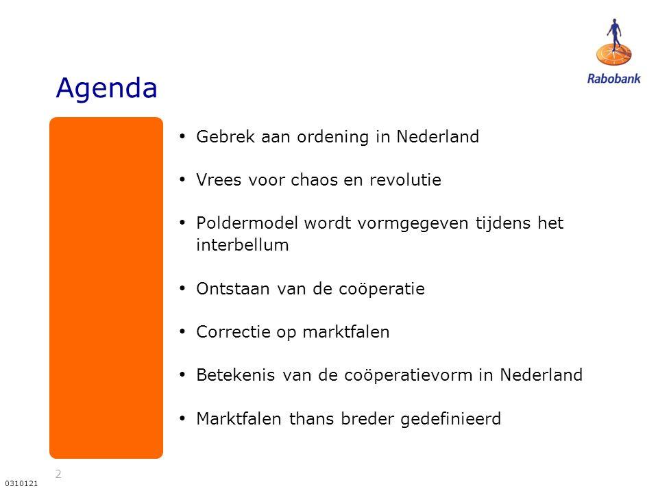 2 0310121 Agenda Gebrek aan ordening in Nederland Vrees voor chaos en revolutie Poldermodel wordt vormgegeven tijdens het interbellum Ontstaan van de coöperatie Correctie op marktfalen Betekenis van de coöperatievorm in Nederland Marktfalen thans breder gedefinieerd
