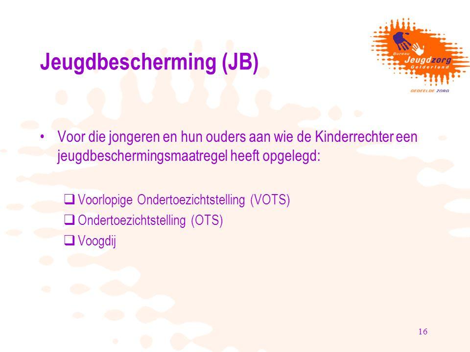 16 Jeugdbescherming (JB) Voor die jongeren en hun ouders aan wie de Kinderrechter een jeugdbeschermingsmaatregel heeft opgelegd:  Voorlopige Ondertoezichtstelling (VOTS)  Ondertoezichtstelling (OTS)  Voogdij