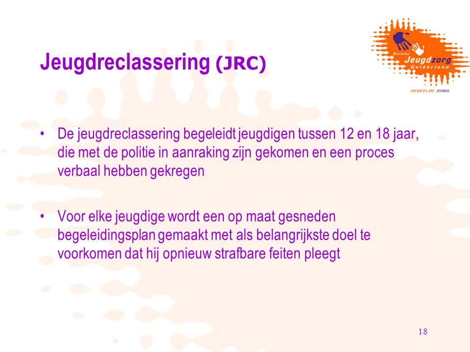 18 Jeugdreclassering (JRC) De jeugdreclassering begeleidt jeugdigen tussen 12 en 18 jaar, die met de politie in aanraking zijn gekomen en een proces v