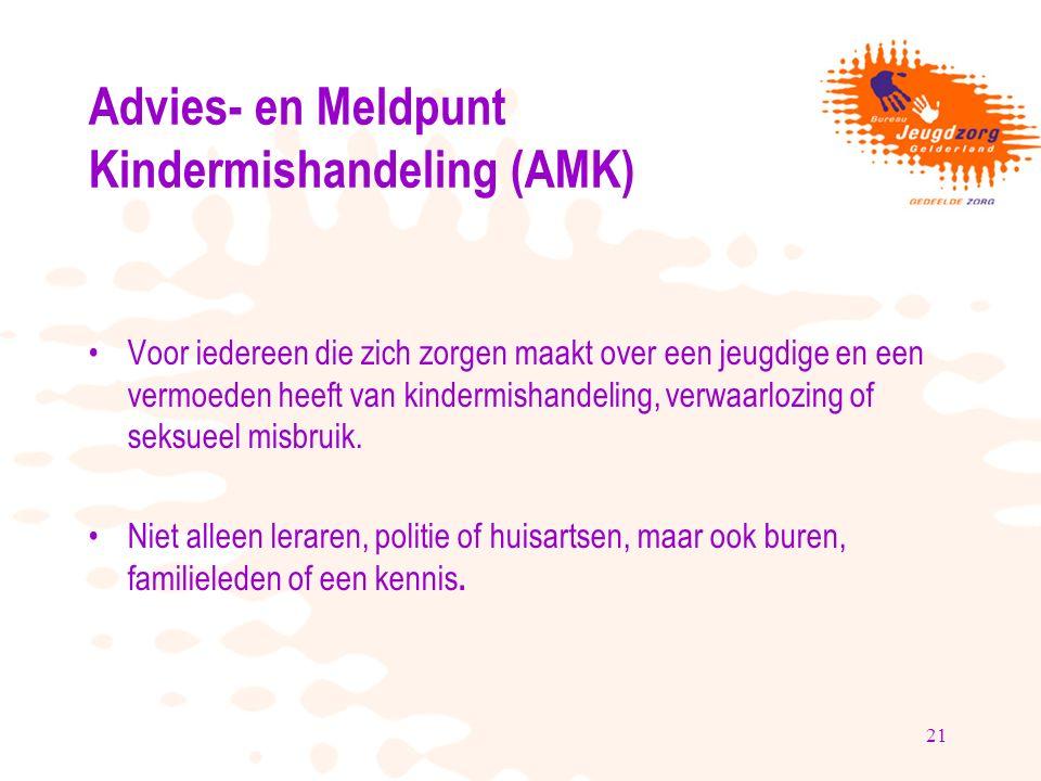 21 Advies- en Meldpunt Kindermishandeling (AMK) Voor iedereen die zich zorgen maakt over een jeugdige en een vermoeden heeft van kindermishandeling, verwaarlozing of seksueel misbruik.