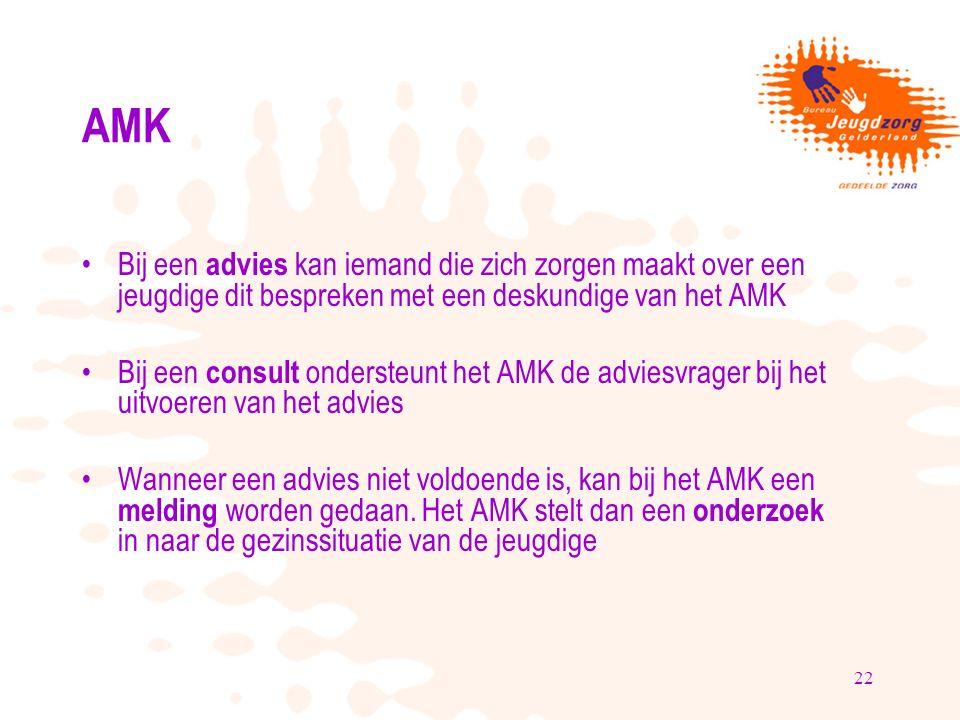 22 AMK Bij een advies kan iemand die zich zorgen maakt over een jeugdige dit bespreken met een deskundige van het AMK Bij een consult ondersteunt het AMK de adviesvrager bij het uitvoeren van het advies Wanneer een advies niet voldoende is, kan bij het AMK een melding worden gedaan.