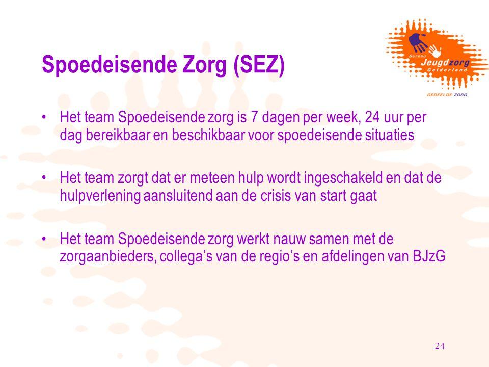 24 Spoedeisende Zorg (SEZ) Het team Spoedeisende zorg is 7 dagen per week, 24 uur per dag bereikbaar en beschikbaar voor spoedeisende situaties Het te
